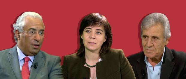 I leader delle tre formazioni che hanno aderito all'accordo: a sinistra António Luís Santos da Costa (segretario del Partito socialista), al centro Catarina Soares Martins (portavoce del Bloco de esquerda), a destraJerónimo Carvalho de Sousa (segretario del PCP)