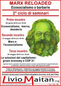 Locandina - Marx reloaded - Ecosocialismo o barbarie - Secondo ciclo - per stampa